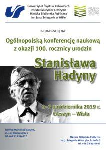Ogólnopolska konferencja naukowa zokazji 100. rocznicy urodzin Stanisława Hadyny - plakat