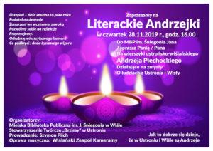 """Zaproszenie na""""Literackie Andrzejki"""" 28.11.2019"""